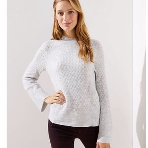 LOFT | Off White Stitchy Flare Sleeve Sweater